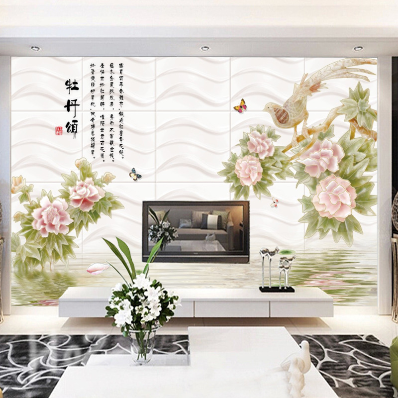 3D Wall Cloth Home And Everything Wallpaper Jade Peony Flowers Mural Seamless Wall Covering Fabric Living Room Wallpaper