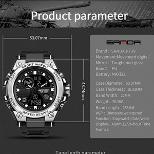 Image 2 - Sports Mens Watch Top Brand Luxury Military Quartz Electronic Watches Waterproof Vibration Alarm Clock relogio masculino SANDA