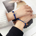 New Blue Magnetic Bts Personality Niche Design Smiley Face A Pair of Chain for Girlfriends Hand Rope Woven Couple Bracelets