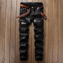 Европейский уличный стиль, модные повседневные Черные джинсы с буквенным принтом, прямые тонкие качественные мужские джинсовые штаны из искусственной кожи 5001