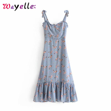 Spaghetti Strap Dress Floral Print Sweet Summer 2019 Chic Sexy Sleeveless Ruffle Korean Womens Long Dresses