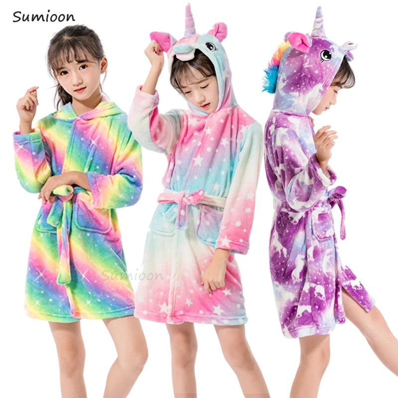 Kigurumi Unicorn Hooded Children Bathrobe Baby Bath Robe Animal Flannel Bathrobes For Boys Girl Pyjamas Nightgown Kids Sleepwear