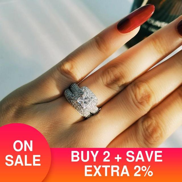 Moonso trendy Luxury 925 Sterling Silver Wedding Ring Set band for bridal girls and Women ladys love couple pair jewelry R3400 1