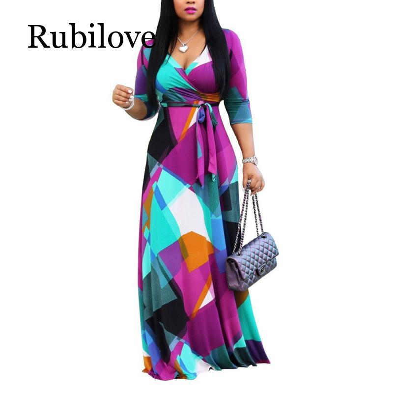 Rubilove Autumn Winter Long <font><b>Dress</b></font> Women V Neck half Sleeve Retro Geometric Printing Vintage <font><b>Dress</b></font> <font><b>5XL</b></font> Plus Size Wrap <font><b>Dress</b></font> image