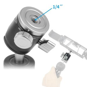 Image 3 - ミニボールヘッドと cnc 金属一脚三脚ボールヘッド 360 パノラマ 1/4 ねじコールドホットシューベースアダプタ一眼レフカメラ用カメラフラッシュ