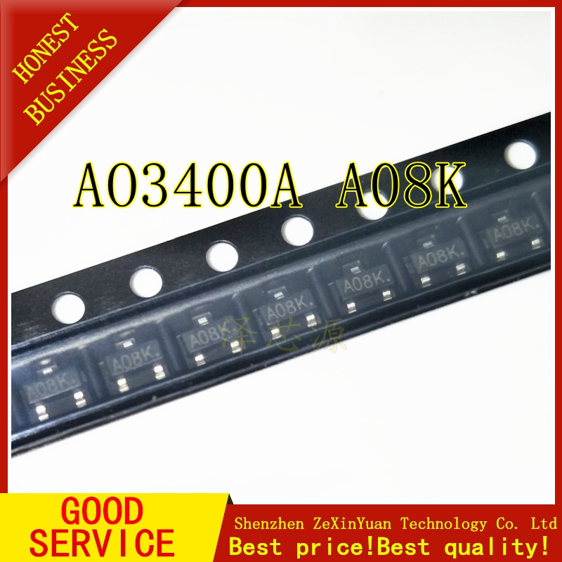 20PCS/LOT  AO3400 AO3400A Mark: Only A08K SOT-23 MOS Integrated Circuit