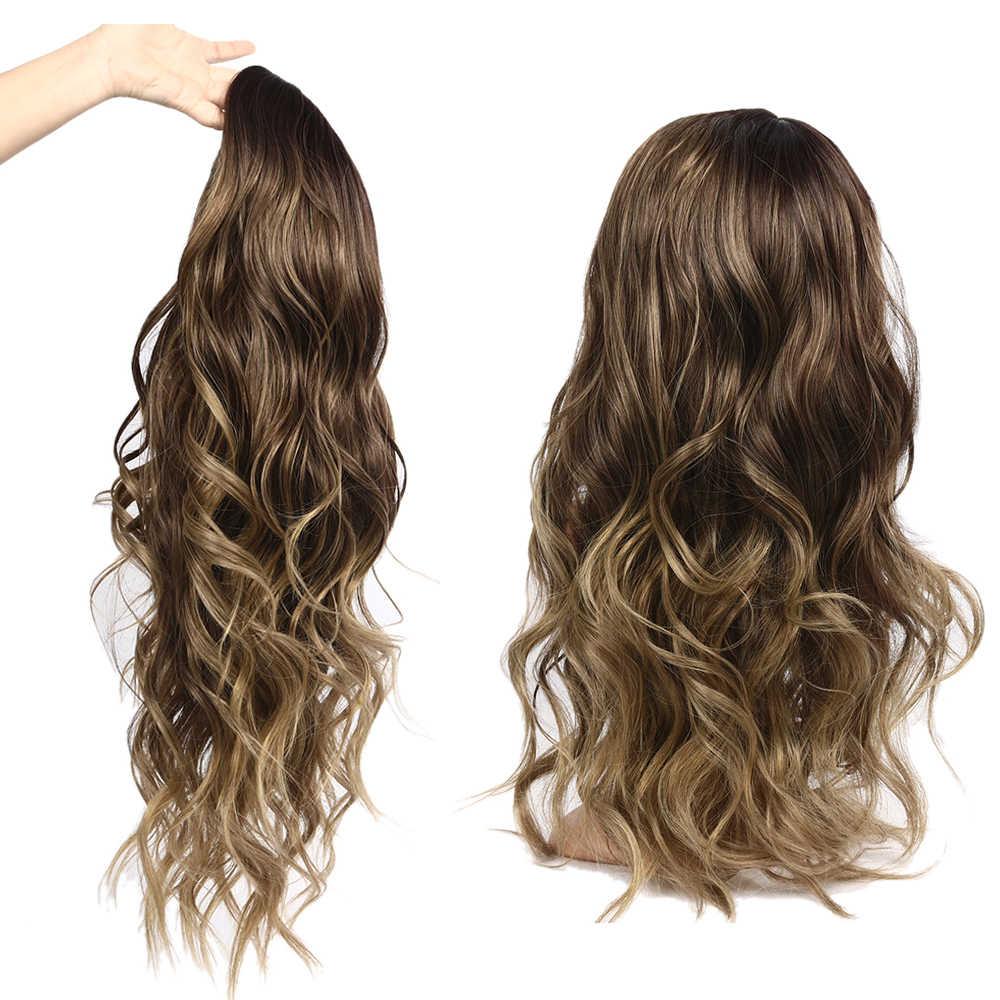 Długa peruka syntetyczna 24 cale różowe naturalne włosy falowane peruki żaroodporne włosy peruki dla czarnych kobiet