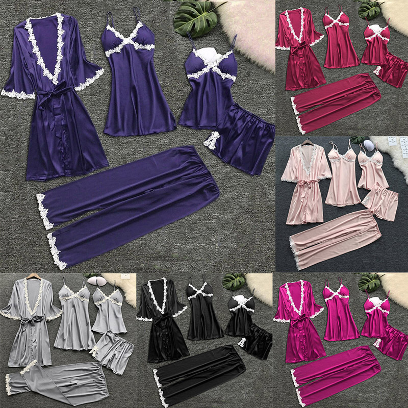 Women V-neck Nightdress Summer Babydolls Nightgown Sleepwear Sexy Lingerie Ladies Bathrobe Lace Multi -Piece Set Of Sexy Pajamas 6