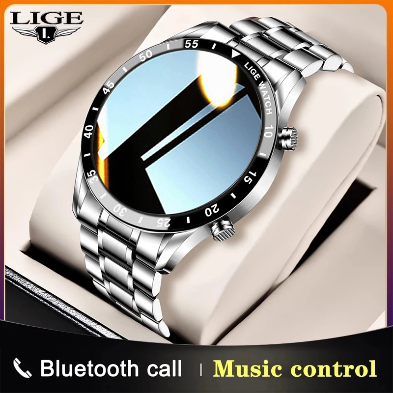 ליגע 2021 חדש חכם שעון גברים מלא מסך מגע ספורט כושר שעון עמיד למים Bluetooth שיחת עבור אנדרואיד iOS Smartwatch Mens