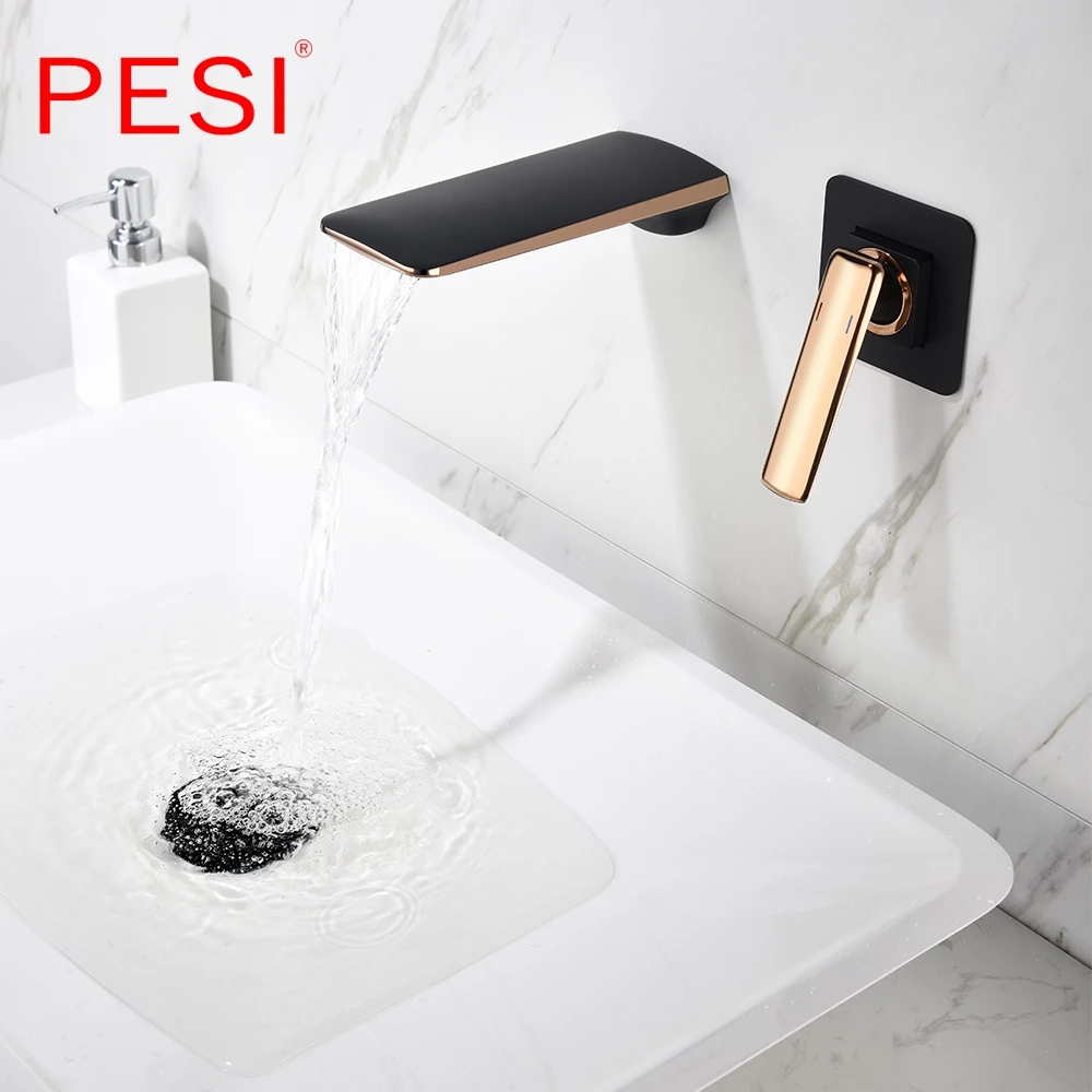 Black And Rose Gold Wall Mounted Bathroom Basin Sink Faucet Waterfall Bathtub Single Handle Solid Brass Hot Cold Mixer Tap Special Promo Df34 Goteborgsaventyrscenter