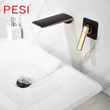 Black and Rose Gold Wall Mounted Bathroom Basin Sink Faucet Waterfall Bathtub Single Handle Solid Brass Hot & Cold Mixer Tap.