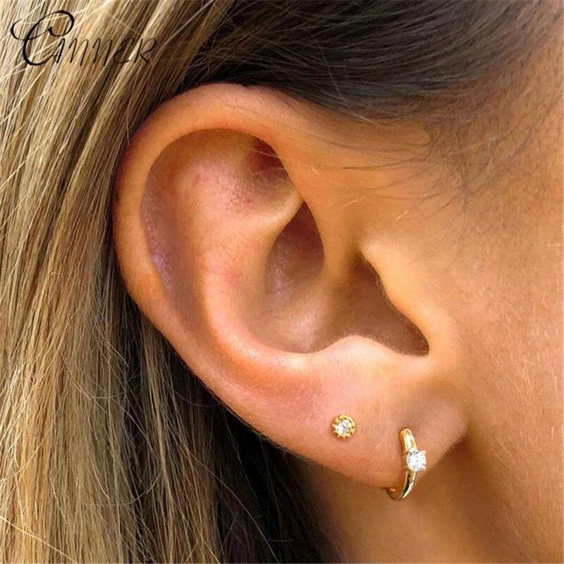 CANNER 925 Sterling Silver Earrings CZ  Zircon Round Stud Earrings For Women Fashion Jewelry Small Gold Higgie Brinco Earings