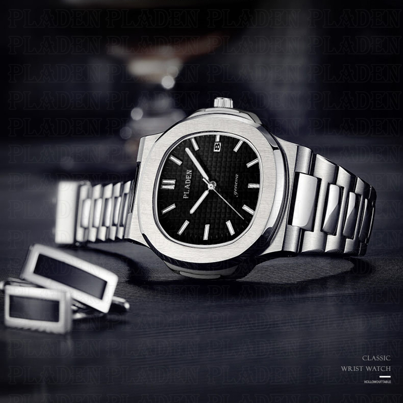 PLADEN Men Watches Top Brand Luxury Hardlex Seiko Movement 30m Waterproof Watches Stainless Steel Analog Black Male Wrist Watch