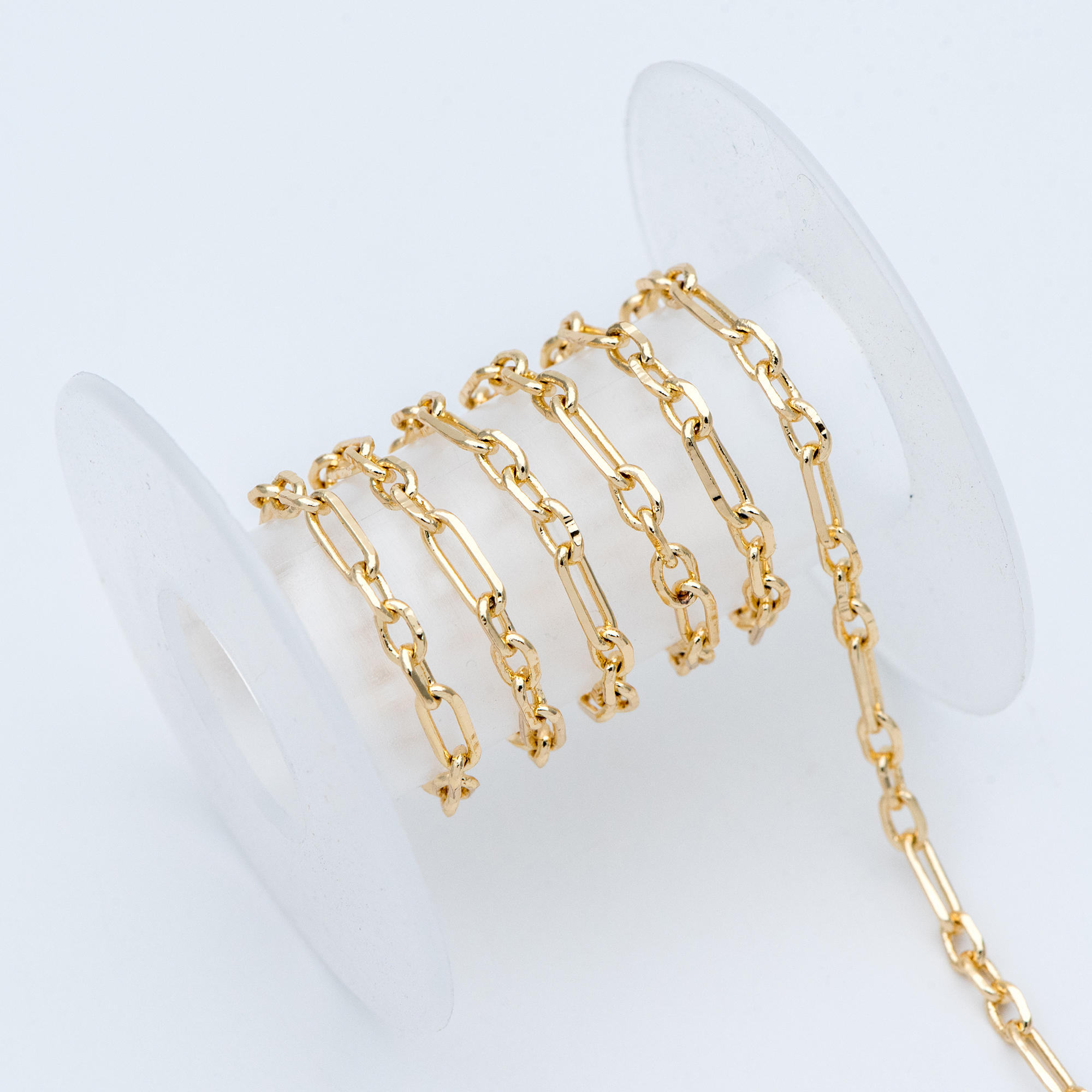 Gold Oval Link Chains 3.6mm, 18K Gold Plated Brass, Color Not Easily Tarnish (#LK-275)/ 1 Meter=3.3 Ft