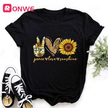 Women Sunflower Peace Love Sunshine Black Tshirt Girl Harajuku Casual White 90s T Shirt Fashion Female T-Shirt,Drop shipping 1