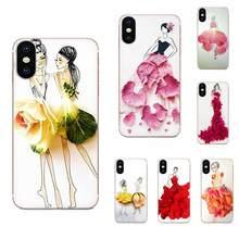 Coque de téléphone portable souple pour filles, motif floral, pour Apple iPhone 11 Pro X XS Max XR 4 4s 5 5C 5s SE SE2 6 6S 7 8 Plus