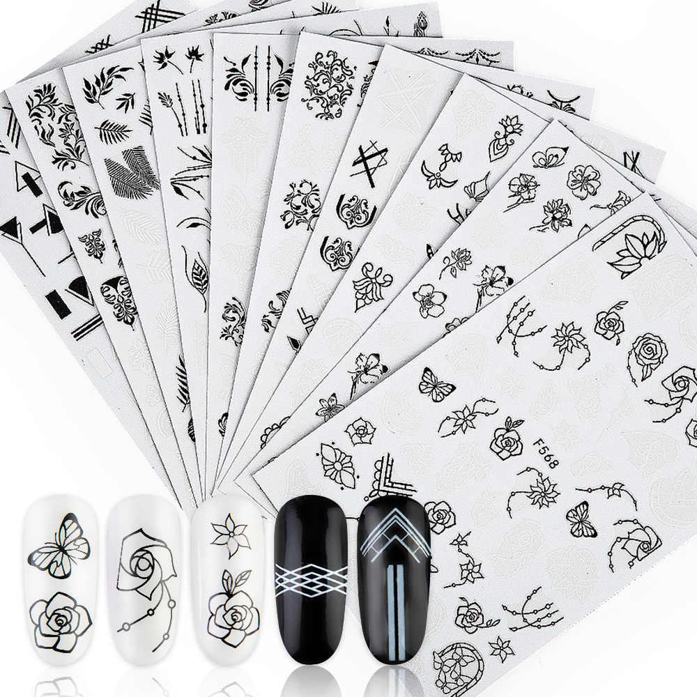 1 Uds 3D pegatinas de flores para uñas flamenco negro letra agua Slider verano transferencia arte de uñas calcomanías transferir decoraciones calcomanías