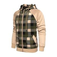 Sports Jacket Hoodies Sweatshirts Autumn Spring Men Cardigan Skateboard Plaid Loose S-2XL