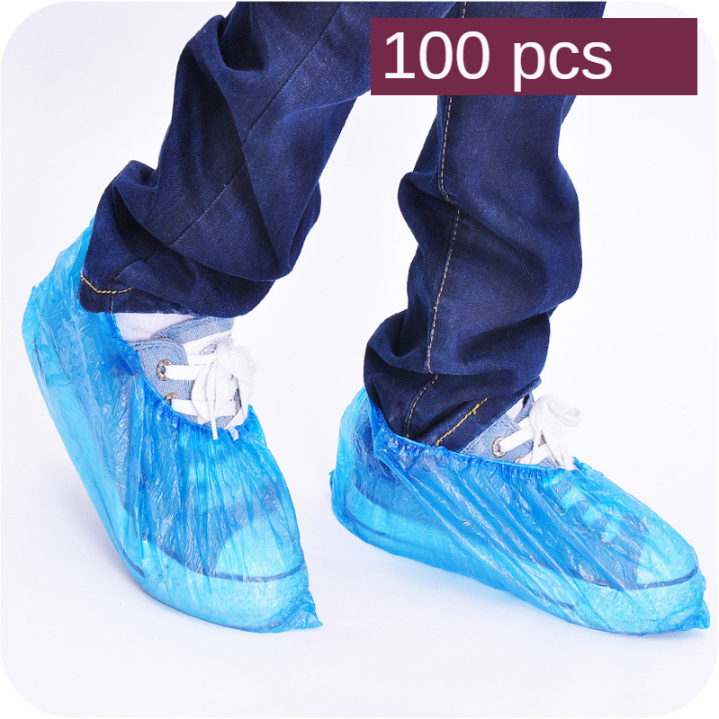100PCS Home Plastic Shoe Cover Household Epidemic Prevention Standing Ultra-Practical Disposable Shoe Cover Waterproof Overshoe