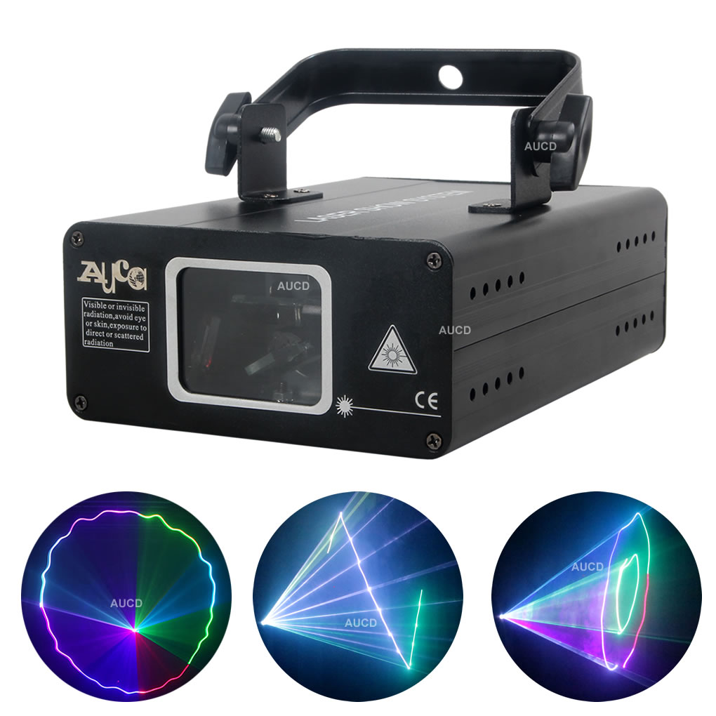 AUCD Mini Portable 500mW RGB Colorfull Projector Laser Lights Disco KTV DJ Home Party DMX Beam Ray Scan Show Stage Lighting 507F