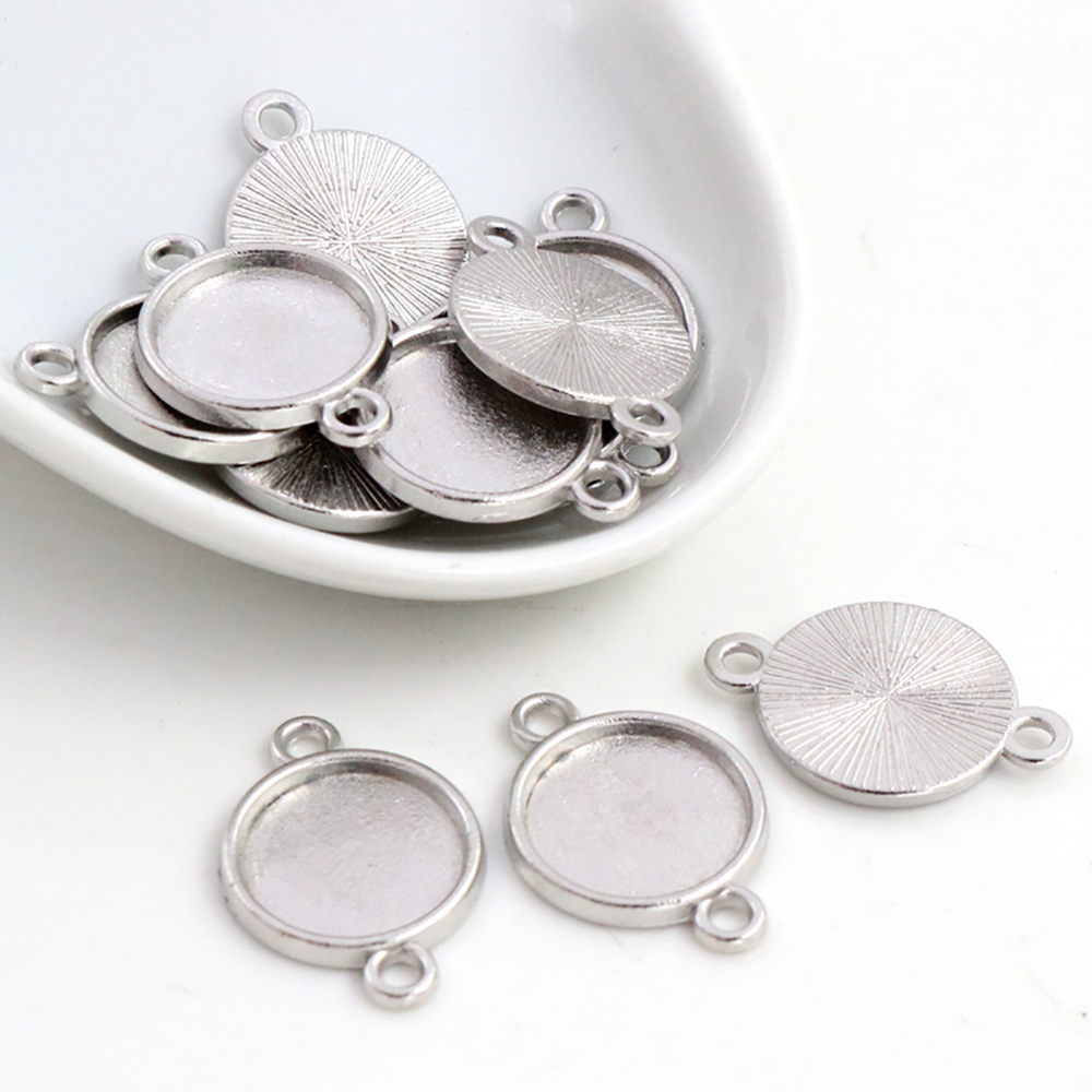 20pcs 12mm Inner Size Rhodium Color Plated Simple Style Cabochon Base Cameo Setting Charms Pendant (C6-56)