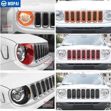 MOPAI Auto Grille Abdeckung Aufkleber für Jeep Renegade 2016 208Car Front Kopf Licht Lampe Dekoration Abdeckung für Jeep Renegade 2016 2018