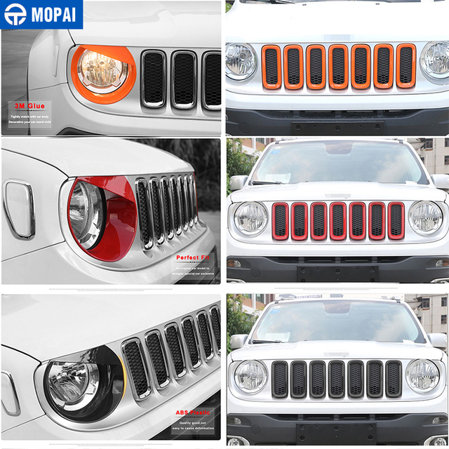 MOPAI Car Grille Cover Stickers for Jeep Renegade 2016 208Car Front Head Light Lamp Decoration Cover for Jeep Renegade 2016 2018