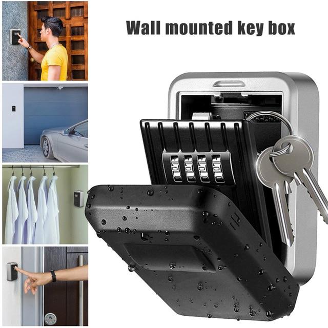 Wall Mount Key Storage Secret Box Organizer 4 Digit Combination Password Security Code Lock No Key Home Key Safe Box caja fuerte 3