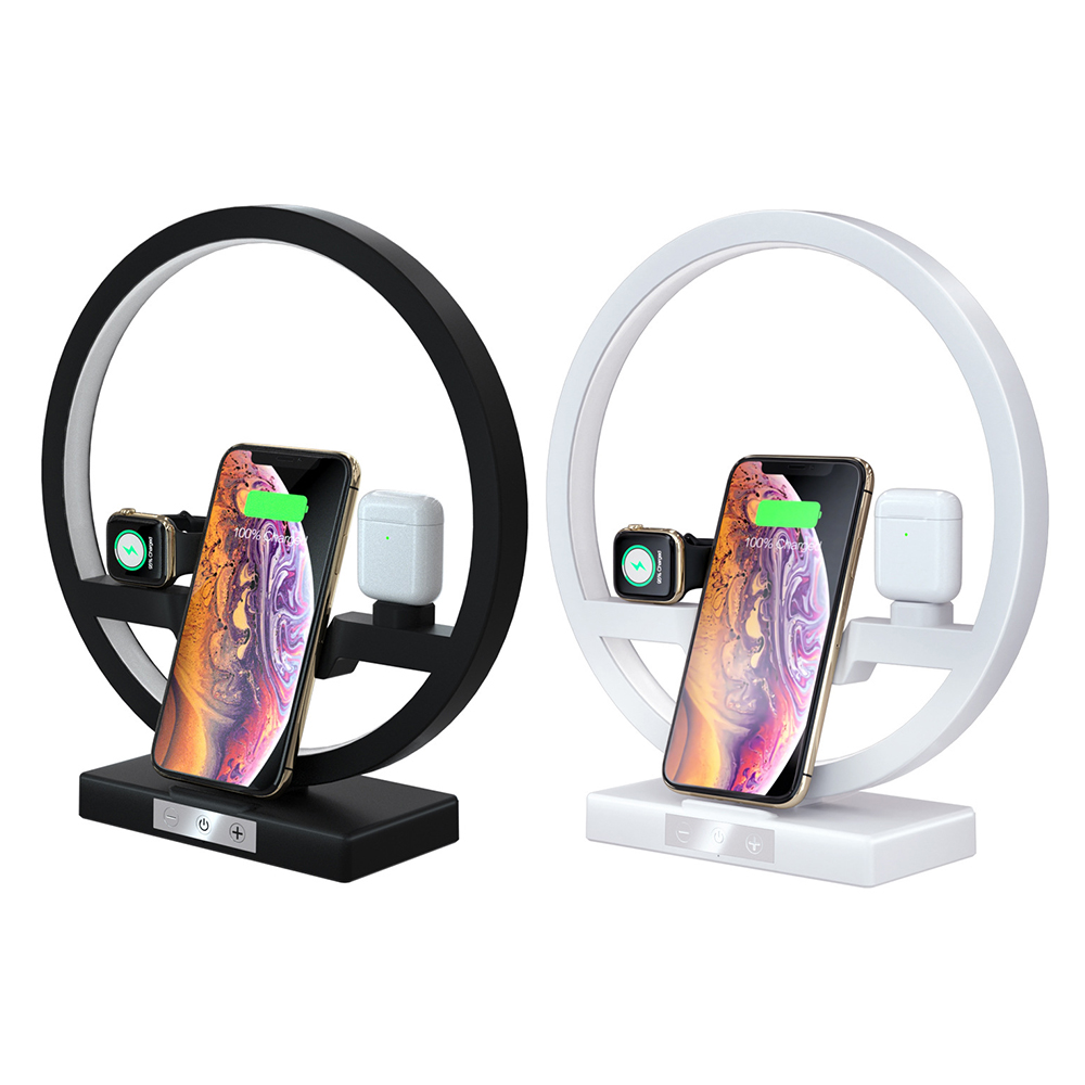 4 In 1 Multi function Fast Wireless Charger Mobile Phone Smart Watch Headset Phone Charging Dock Bracket Table Lamp For IPhone Mobile Phone Chargers     - title=