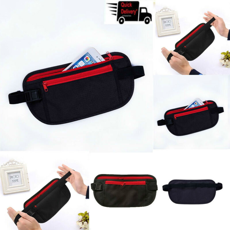 New Travel Waist Pouch Passport Money Belt Bag Hidden Security Wallet Black Casual Solid Zipper Elastic Handbag Phone Belt Bag
