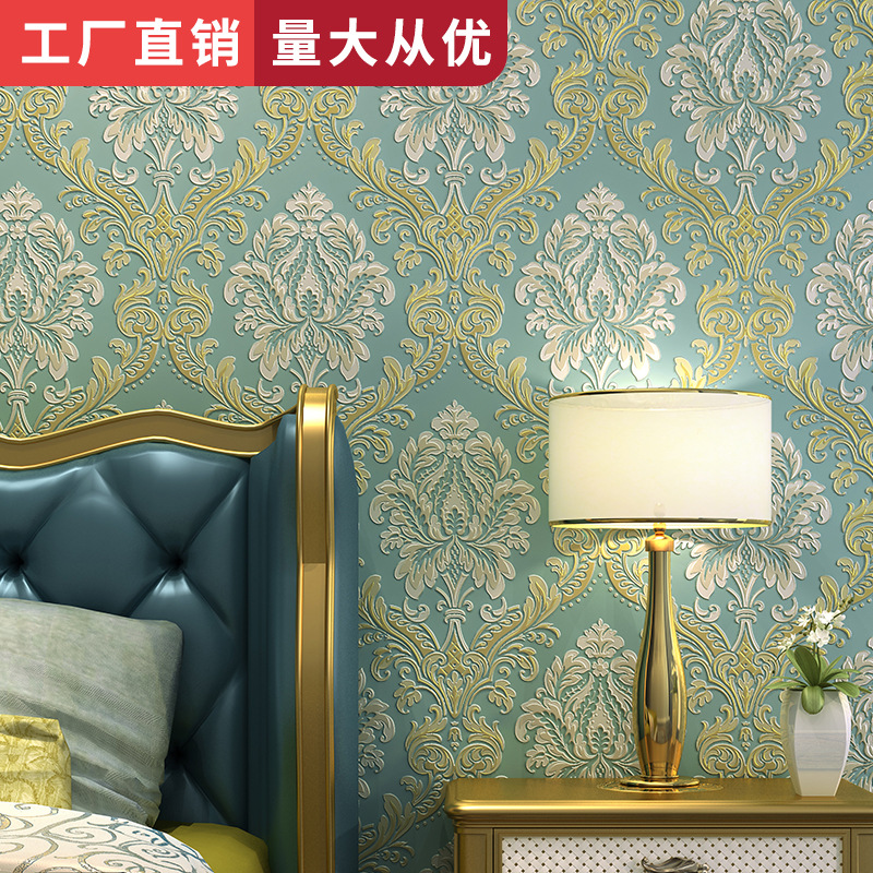 Bedroom Living Room Television Background Wall Wallpaper European Style Thick 3D Non-woven Wallpaper Home Improvement Special Of