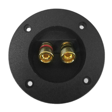 1pc Black Car Subwoofer Speaker Box Terminal Round Spring Cup Connector Gold Plated Plug