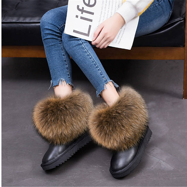 G&Zaco Luxury Winter Snow Boots Women Natural Real Fox Fur Boots Waterproof Genuine Suede Leather Boots Black Flat Short Boot