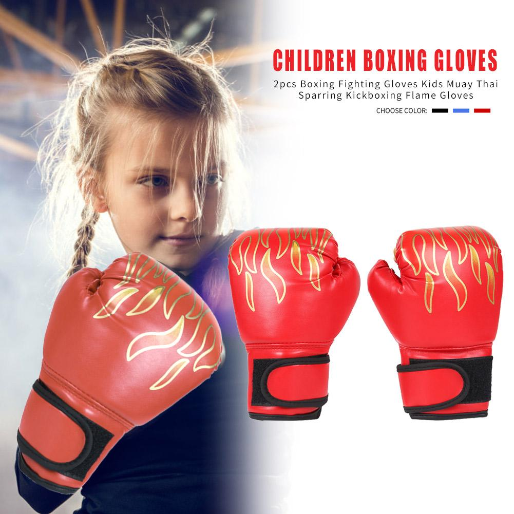 2Pcs Durable Boxing Gloves High-Grade PU Leather Training Fighting Flame Kids Muay Thai Sparring Gloves For 3-12 Year Old Child