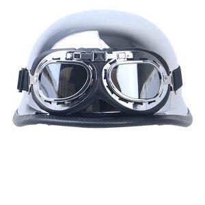 Image 2 - Casco de moto Vintage Retro alemán para hombre, protección para la cabeza, aprobado por DOT