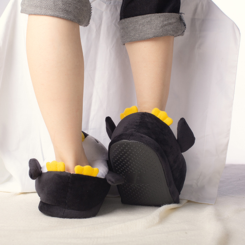 Kids Winter Home Cotton Shoes Soft Non-slip Fluffy Slippers Cute Cartoon Plush Slippers women Animals Penguin Indoor Shoes 4