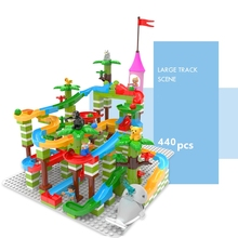 68-440Pcs Marble Race Run Maze Ball Track Building Blocks Big Size Jungle Adventure Bricks Compatible with duplo animal