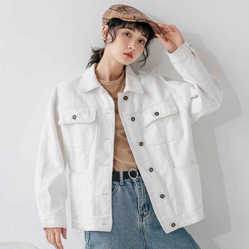 100% Cotton Denim Jacket  2020 Autumn New Korean Style  Solid White Short  Jeans Jacket Women Female Student Short Coat L0047