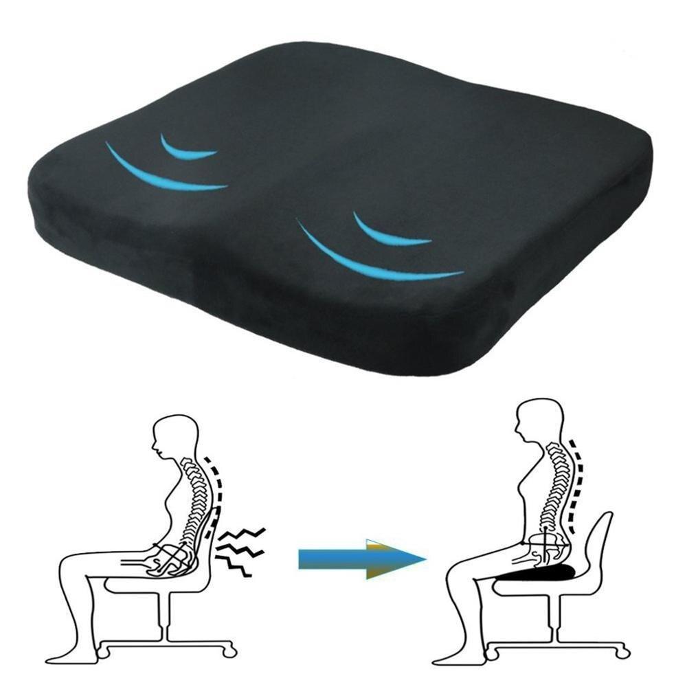 Espuma de memória cunha assento de carro cadeira apoio lombar almofada volta dor altura reforço para o escritório alívio da dor elástica