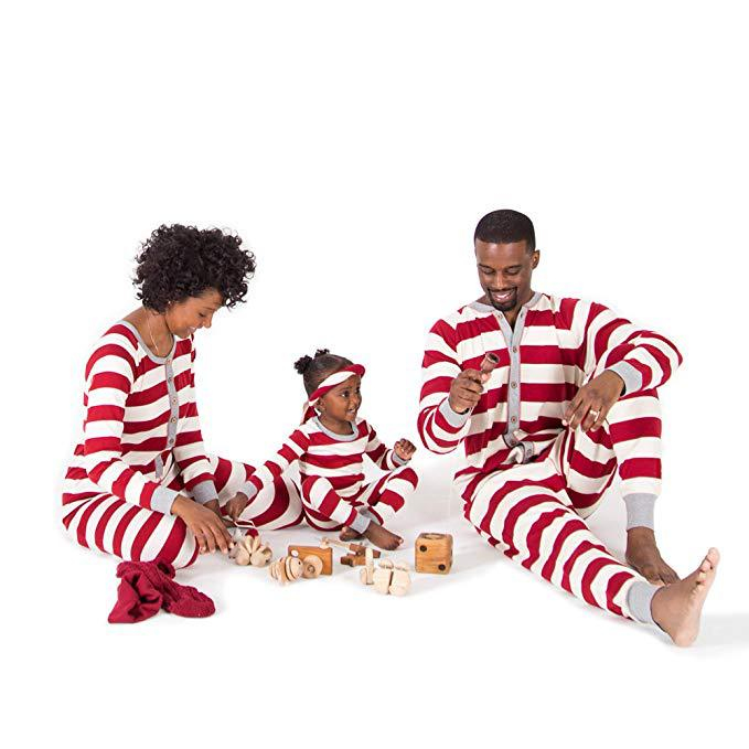 Hot Selling 2019 Europe And America New Products Stripes One-piece Christmas Parent And Child Set