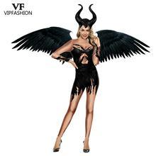 VIP 패션 3D 영화 Maleficent 의상 카니발 악마의 마녀의 코스프레 복장 파티 멋진 Jumpsuits 여성을위한 할로윈 의상