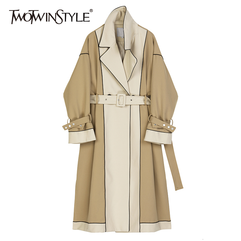 TWOTWINSTYLE Hit Color Patchwork Windbreaker Female V Neck Long Sleeve High Waist Lace Up Trench Coat Women Fashion 2019 Clothes