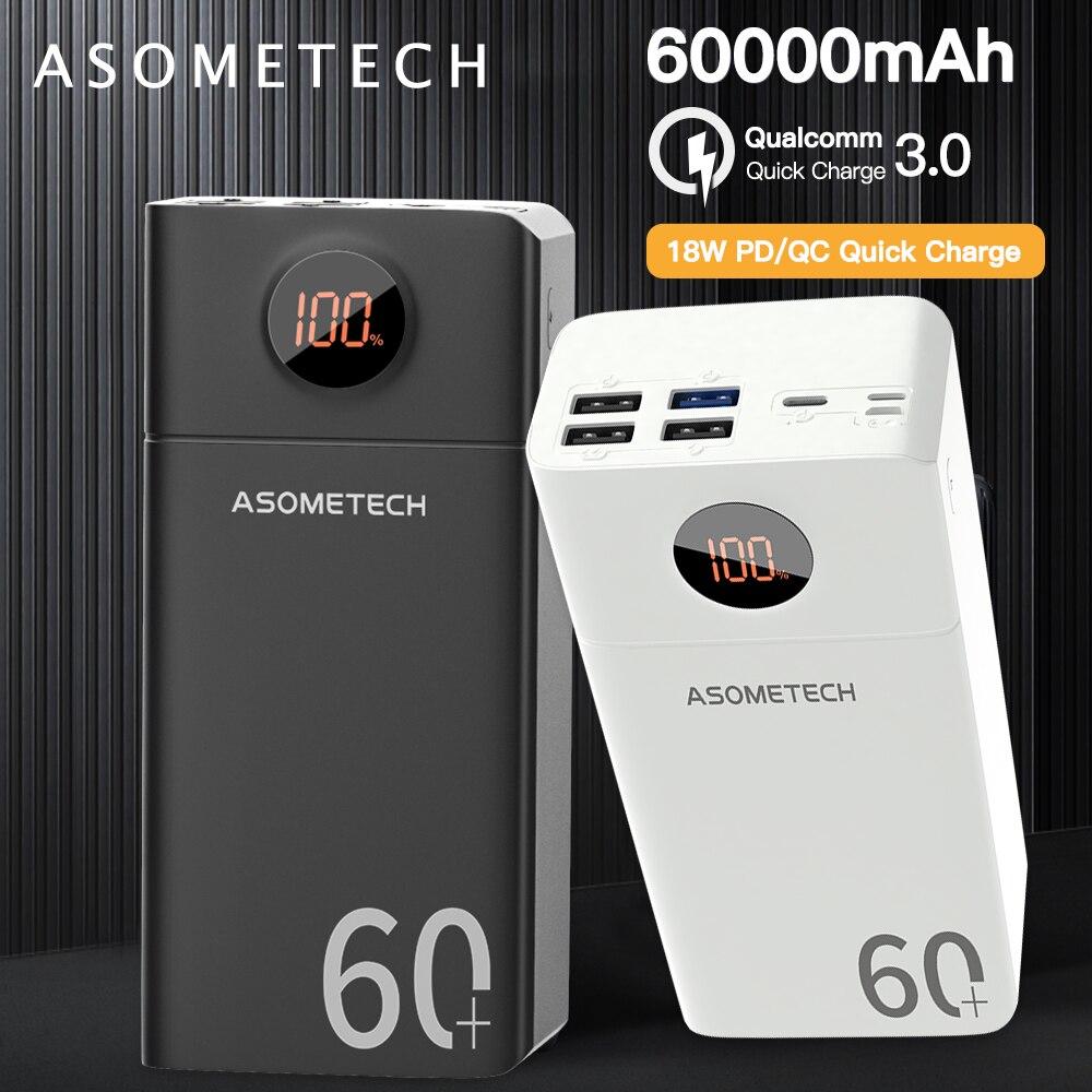 Портативное зарядное устройство 60000 мАч QC 3,0, быстрое зарядное устройство Type C PD 18 Вт, двухсторонняя быстрая зарядка, внешний аккумулятор, пор...