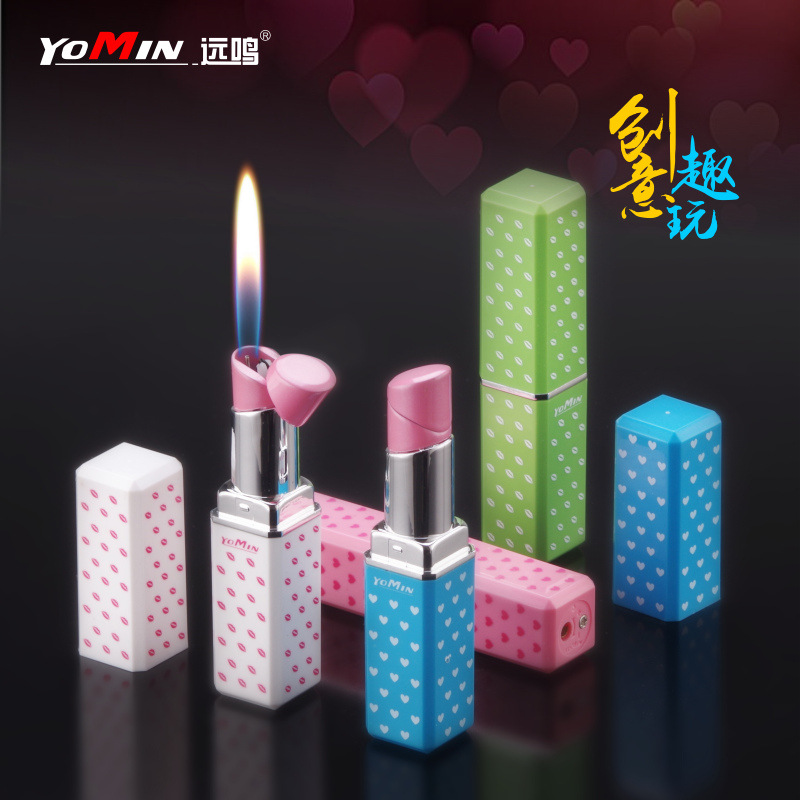 Lipstick Cigarette Lighter Cool Modeling Open Fire Gas Lighters Cross Border Stall Hot Selling Product