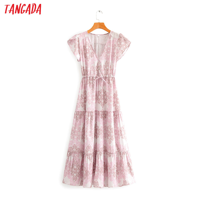 Tangada Women Floral Print Boho Style Dress V Neck Short Sleeve 2020 Summer Females Maxi Dresses Vestidos SY74