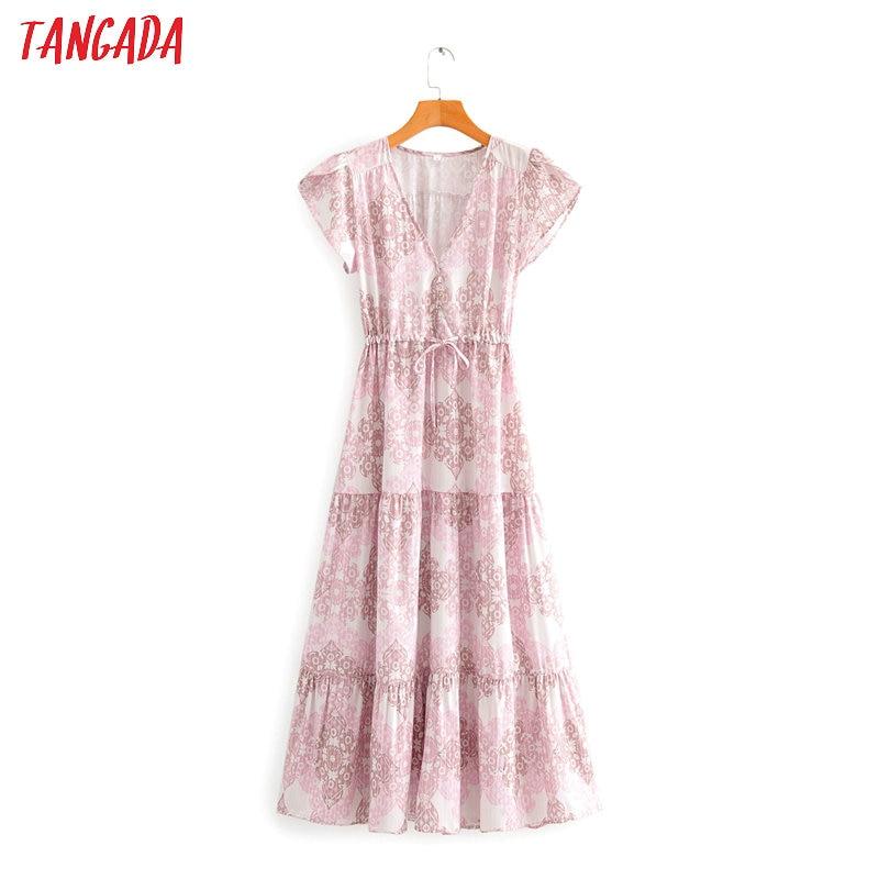 Tangada Women Floral Print Boho Style Dress V Neck Short Sleeve 2020 Summer Females Maxi Dresses Vestidos SY74