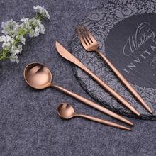 Rose Gold Cutlery Set Stainless Steel Flatware Set Kitchen Silverware Tableware Dinnerware Fork Spoon Knife Set Drop Shipping