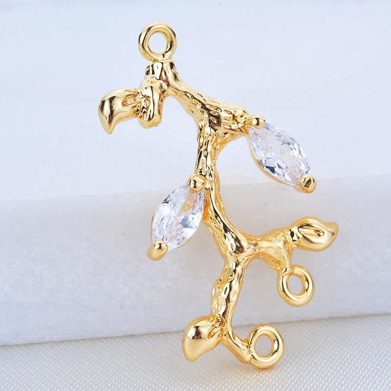 (270) 4PCS 24x15MM 24K Gold Color Plated Brass with zircon Tree Branch Charms Pendants High Quality DIY Jewelry Making Findings