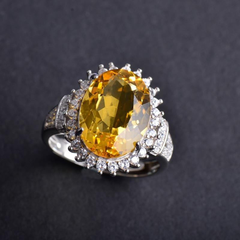 CSJ naturel Citrine réglable mode anneaux 925 en argent Sterling jaune Quartz Oval10 * 14mm coupe femmes dame fête de mariage boîte-cadeau