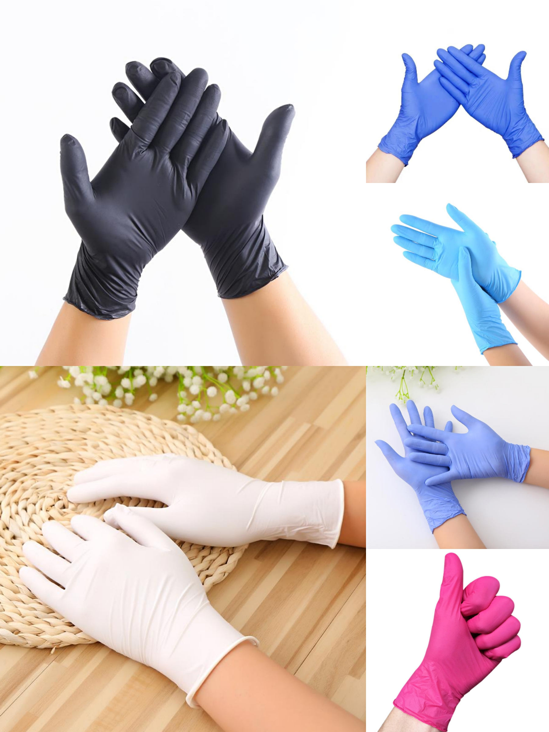 100pcs Wear-resistant And Durable Nitrile Disposable Gloves Rubber Latex Food Medical Household Anti-static Cleaning Gloves